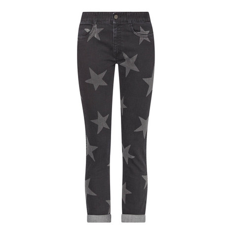 Star Print Cropped Jeans, ${color}