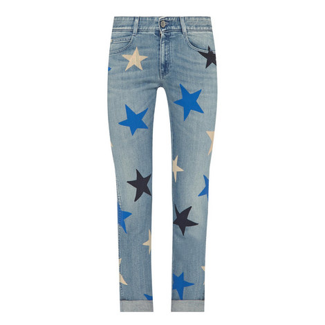 Star Print Straight Fit Jeans, ${color}