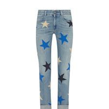 Star Print Straight Fit Jeans