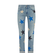 Star Print Straight Fit Jeans