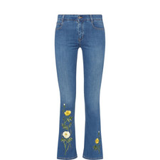 Embroidered Kick-Flare Jeans