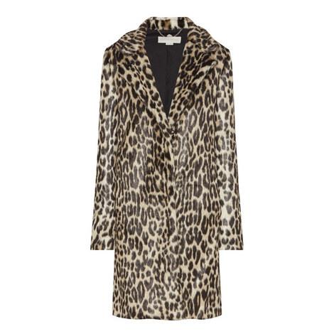 Leopard Print Faux Fur Coat, ${color}