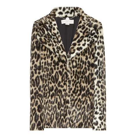 Faux Fur Leopard Print Coat, ${color}