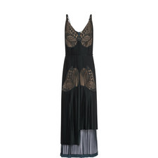 Lace-Trimmed Pleated Dress