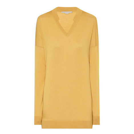 V-Neck Wool-Blend Sweater, ${color}