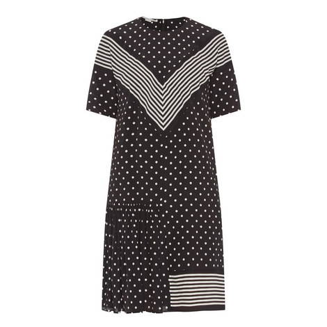 Polka Dot Silk Dress, ${color}