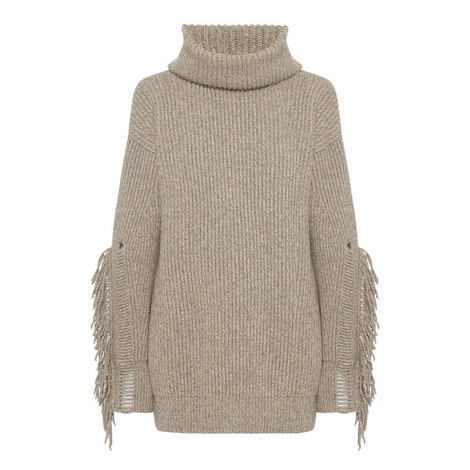 Fringe Polo Neck Sweater, ${color}