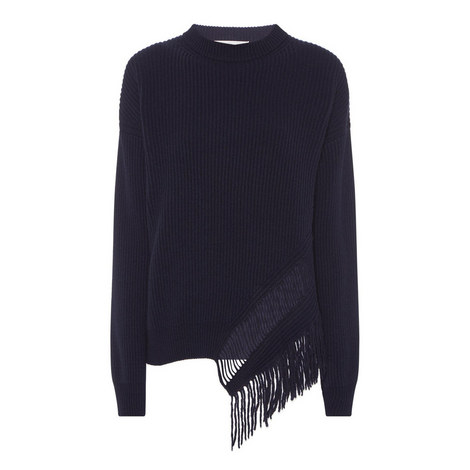 Ribbed Fringe Sweater, ${color}