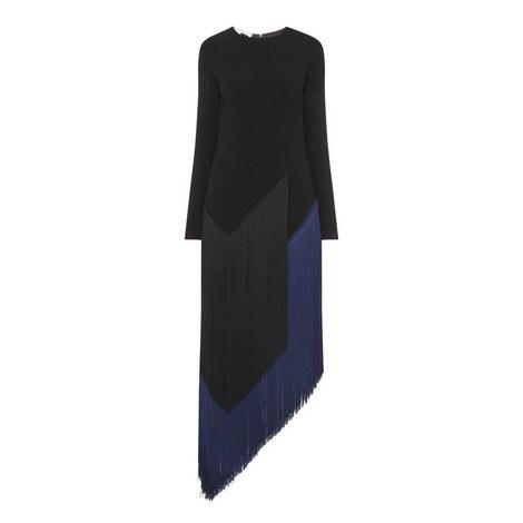 Long Sleeve Fringe Dress, ${color}