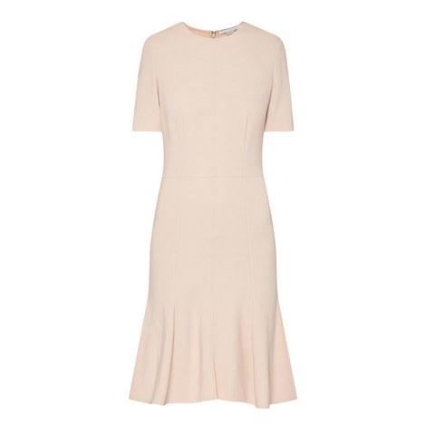 Short Sleeve Kick Flare Dress, ${color}