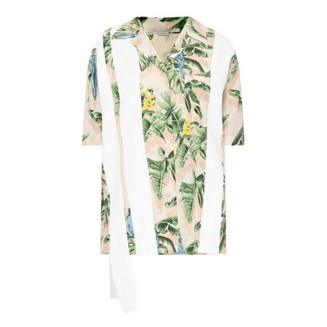 Striped Panel Parrot Shirt, ${color}