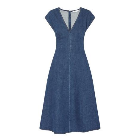 V-Neck Denim Dress, ${color}