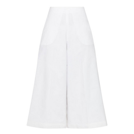 Flared Poplin Trousers, ${color}