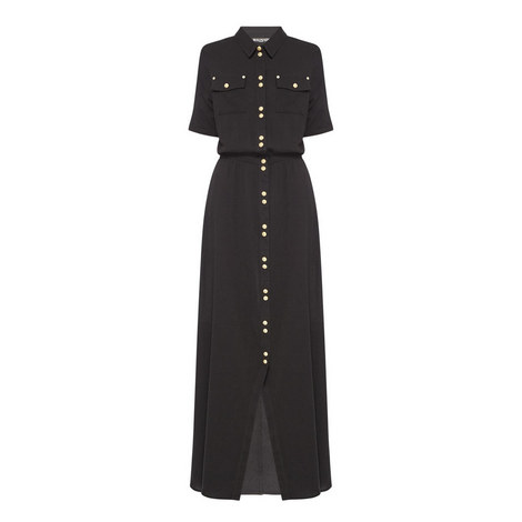 Button Front Long Dress, ${color}