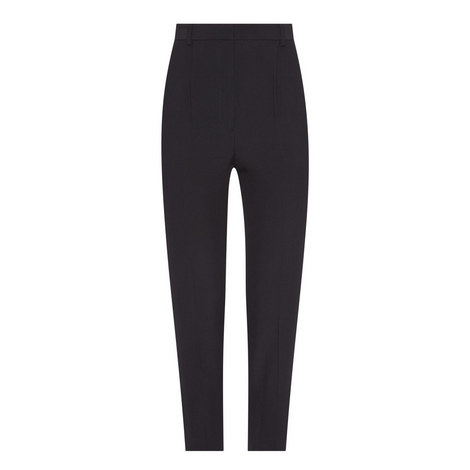 High-Waisted Cropped Crepe Trousers, ${color}