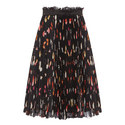 Pleated Butterfly Print Skirt, ${color}