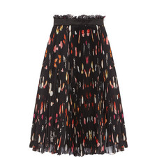 Pleated Butterfly Print Skirt