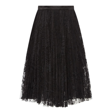 Satin Trim Lace Skirt, ${color}