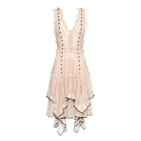 Ruffled Asymmetrical Hem Dress, ${color}