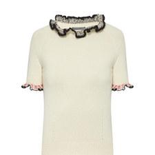 Ruffle Trim Cashmere Sweater