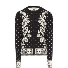 Floral Pattern Knit Jacket