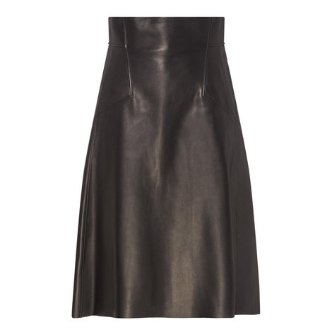 High-Waisted Leather Skirt , ${color}