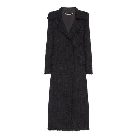 Long Fray Tweed Coat, ${color}