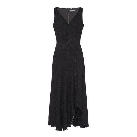 Long Tweed Asymmetric Dress, ${color}