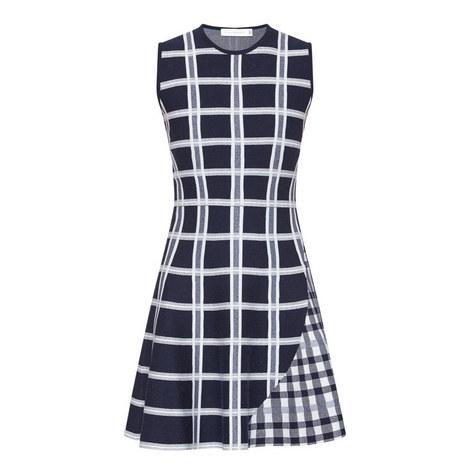 Check Sleeveless Flare Dress, ${color}