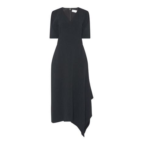V-Neck Drape Midi Dress, ${color}