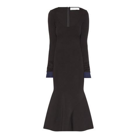 Long Sleeve Flared Midi Dress, ${color}