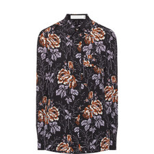 Rose Print Silk Shirt