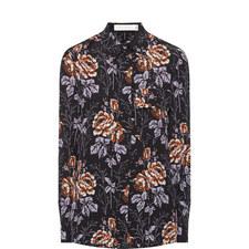 Rose Print Silk Shirt