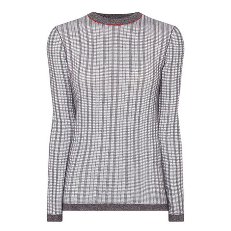 Textured Round Neck Sweater, ${color}