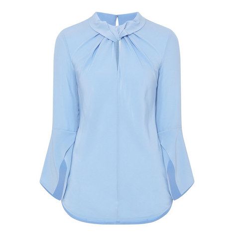 Ruched Flared Sleeve Top, ${color}