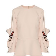 Bow Sleeve Crêpe Top