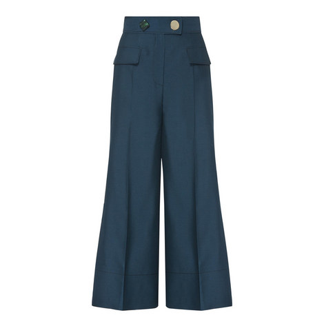 High-Waisted Flared Trousers, ${color}