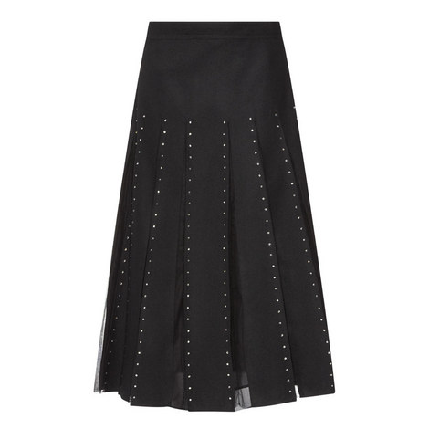 Pleated Mesh Detail Skirt, ${color}