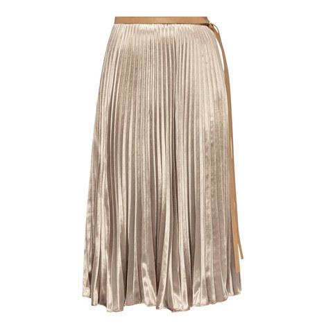 Pleated Velvet Midi Skirt, ${color}