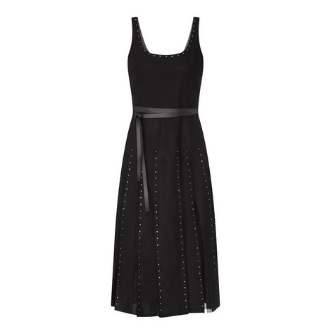 Pleated Mesh Detail Dress, ${color}