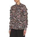 Butterfly Print Silk Blouse, ${color}
