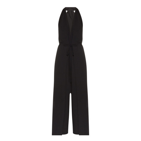 Halterneck Tie Detail Jumpsuit, ${color}