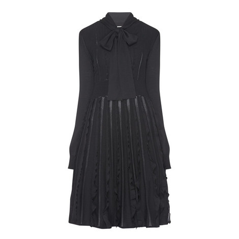 Knitted Pussybow Ruffle Dress, ${color}