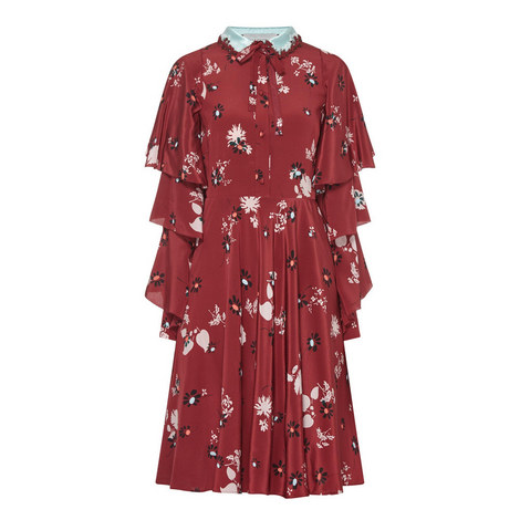 Ruffle Sleeve Floral Dress, ${color}