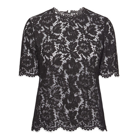 Short Sleeve Lace Top, ${color}