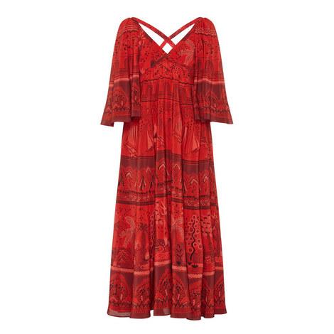 Patterned Wide Sleeve Crepe Dress, ${color}