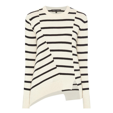 Asymmetrical Striped Sweater, ${color}
