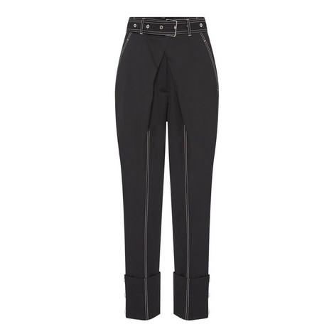 Belted Stitch Detail Trousers, ${color}
