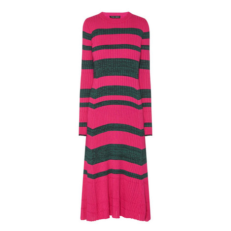 Long Sleeve Stripe Ribbed Dress, ${color}