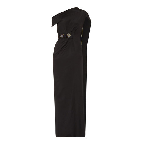 Minton Draped Off-Shoulder Gown, ${color}